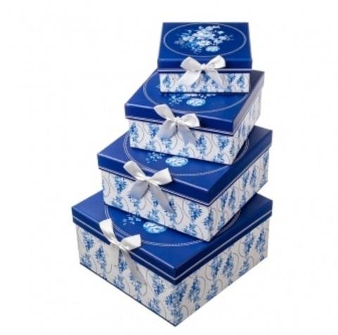 Набор коробок квадратных Гжель 4шт, 23х23х12см, белый/синий