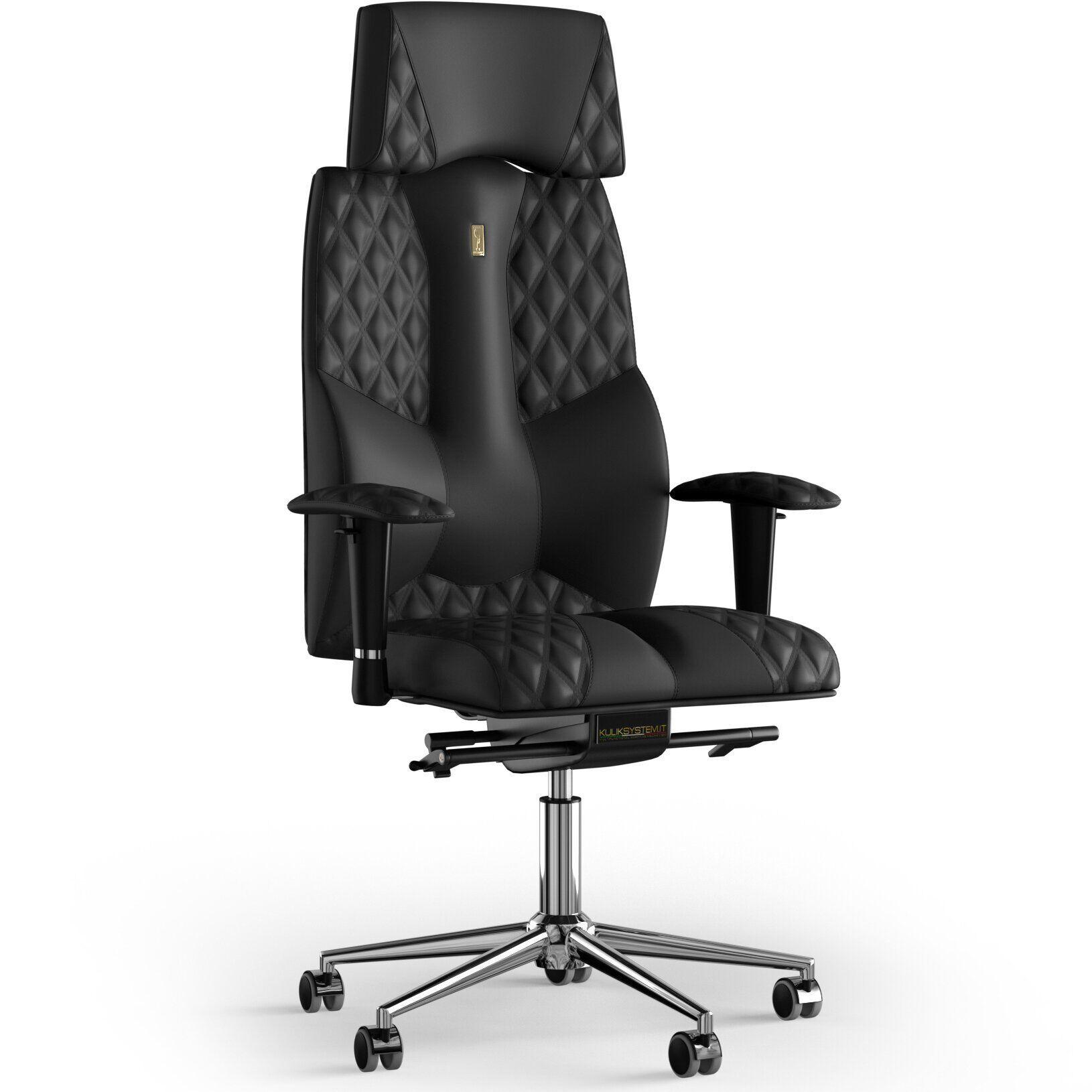 Кресло KULIK SYSTEM BUSINESS Экокожа с подголовником со строчкой