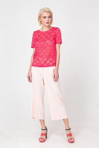 Фото брюки-кюлоты нежно-розового цвета - Брюки А430-156 (1)