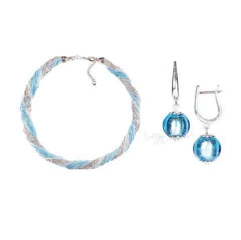 Комплект украшений серебристо-голубой (серьги-бусины, ожерелье из бисера 24 нити)