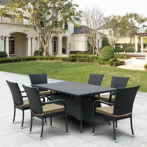 Комплект плетеной мебели T170S/S6Black 6Pcs