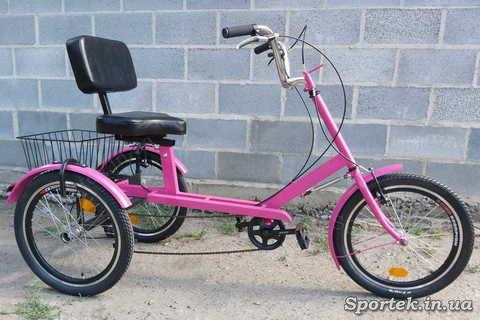 Трехколесный велосипед для людей весом 110-190 кг 'Атлет с корзинкой' - малиновый