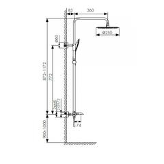 Душевая система KAISER Nove 06182 с термостатом и изливом схема