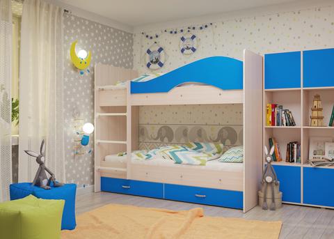 Двухъярусная кровать Майя млечный дуб / голубой