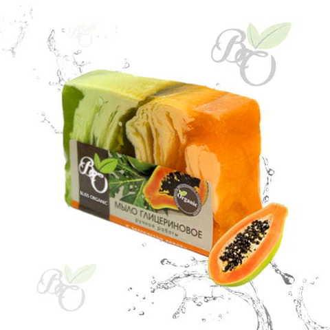 Глицериновое мыло ручной работы «Папайя», Bliss organic 100 гр