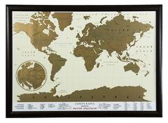 Скретч-карта мира в рамке (цвет венге)