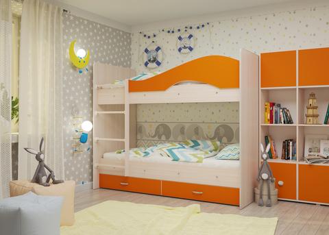 Двухъярусная кровать Майя млечный дуб / оранж