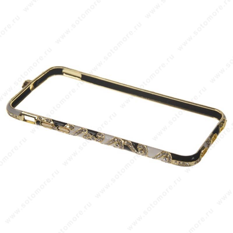 Бампер Heimeiren металический для iPhone 6s/ 6 стразы золото c черным, белым