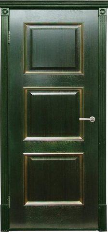 Дверь Халес Триест (зеленый с золотом, глухая, массив хвойных пород)