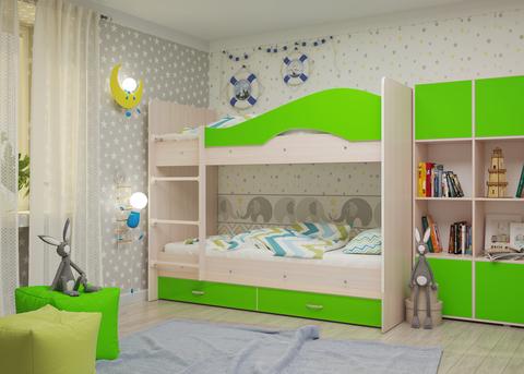 Двухъярусная кровать Майя млечный дуб/ салатовый