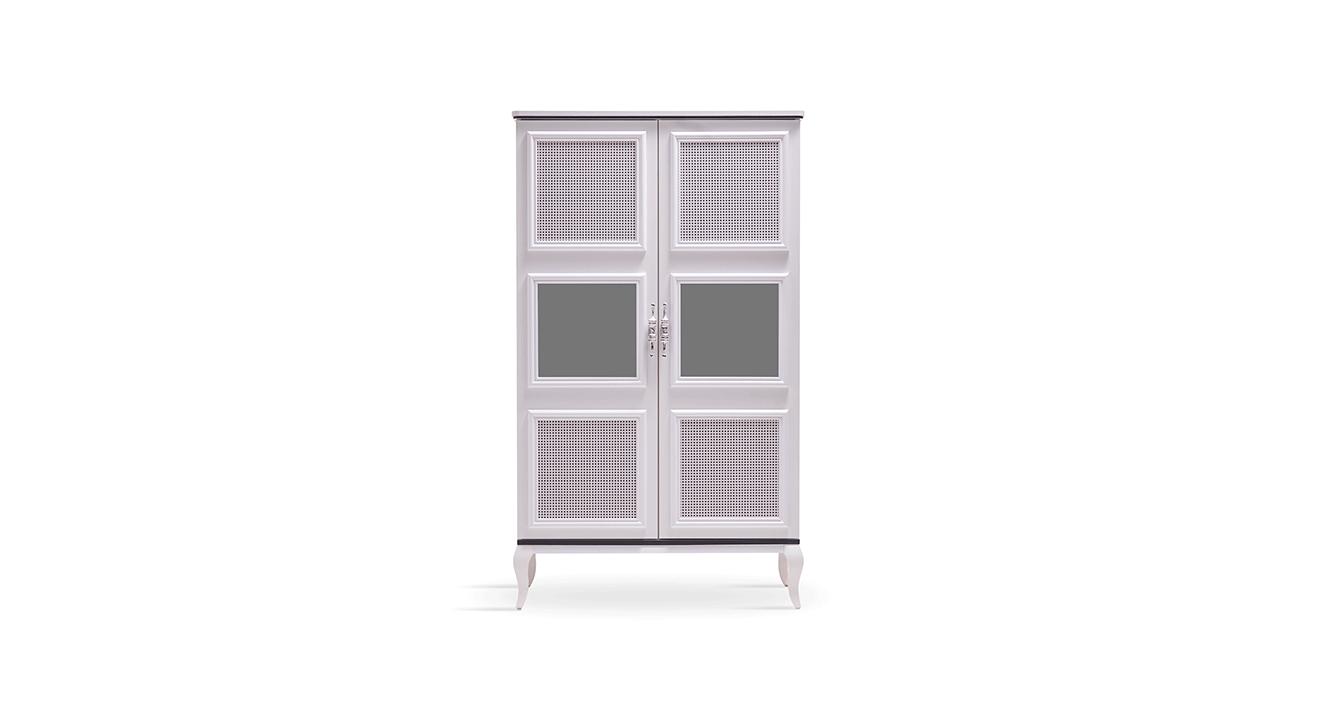 Высокий шкаф RATTAN (гостиная) белый
