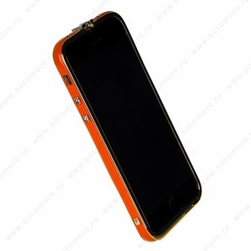 Бампер Heimeiren металический для iPhone 6s/ 6 оранжевый каемка золото