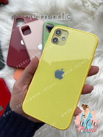 Чехол iPhone 11 Glass Pastel color Logo /yellow/