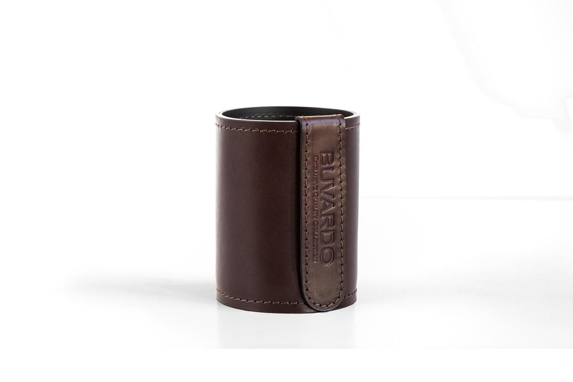 Стакан канцелярский Н12 BUVARDO PREMIUM из кожи Full Grain Brown/Cuoietto черный