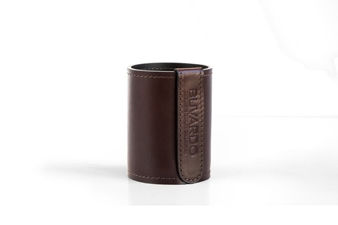 Стакан канцелярский Н12 PREMIUM из кожи  Full Grain Brown/Cuoietto черный