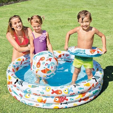 Бассейн надувной с кругом и мячом  1,22*25см.