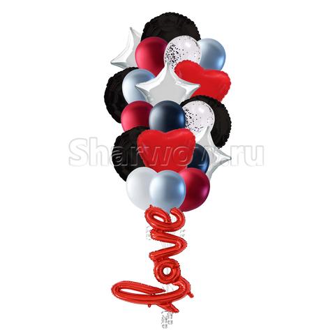 Воздушные шары для девушки в красно-черных цветах с серебрянным