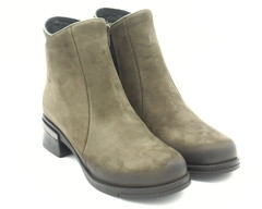 Зеленые ботинки из натурального нубука