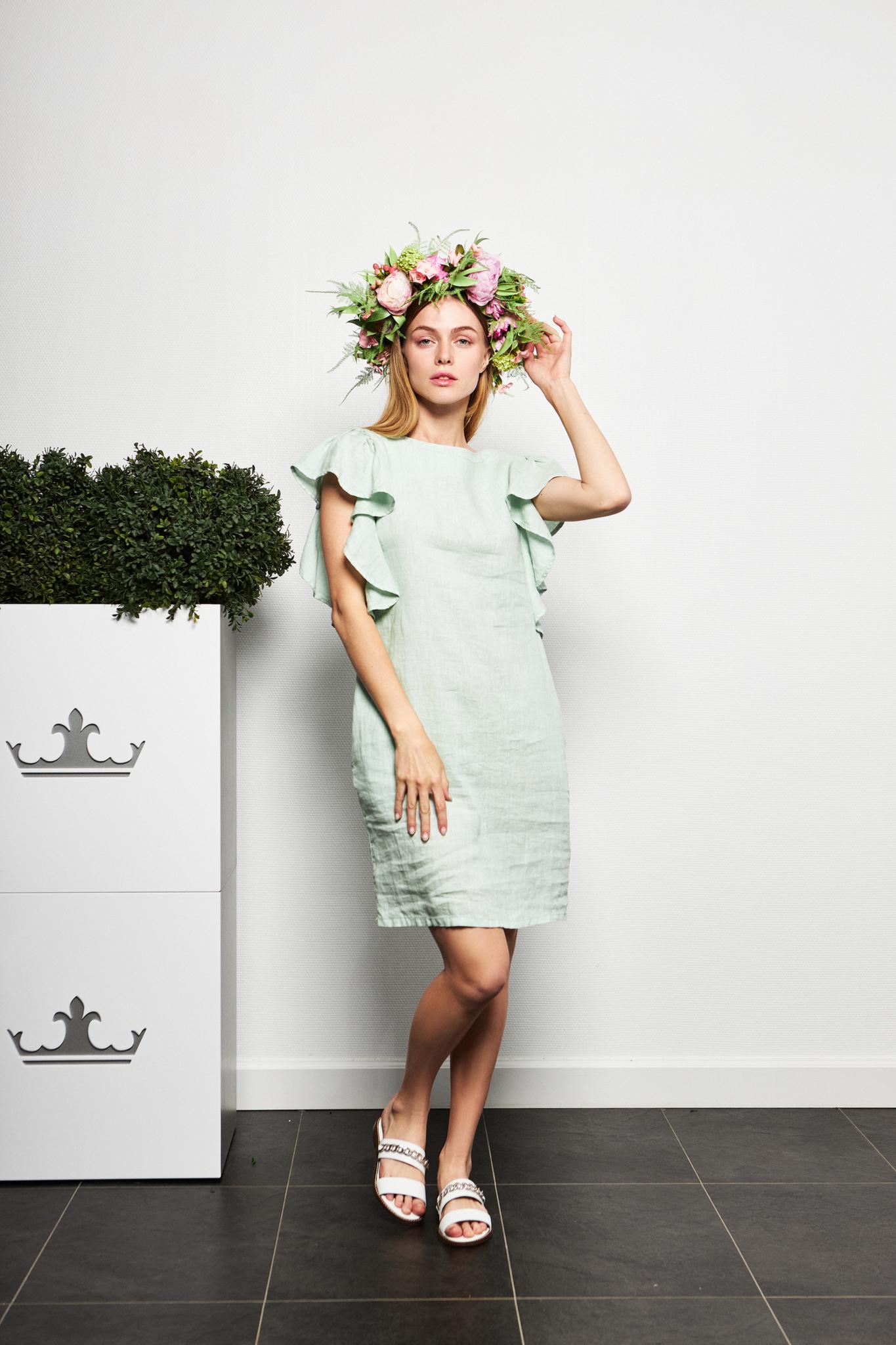 Gotha Льняное платье с рюшей по пройме
