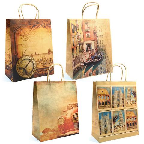 Пакет подарочный из крафт-бумаги Путешествие (32x26x10 см)