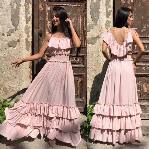 Длинное летнее платье с воланами, нежно-персикового цвета 2