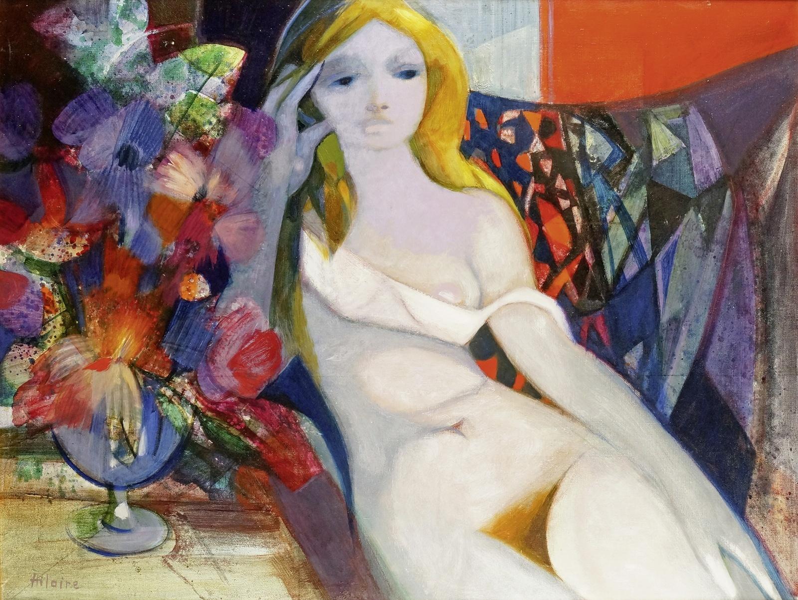 Камиль Илер, 1974, Обнаженная с букетом цветов (Nu Au Bouquet De Fleurs), 89 х 116 см. Частное собрание