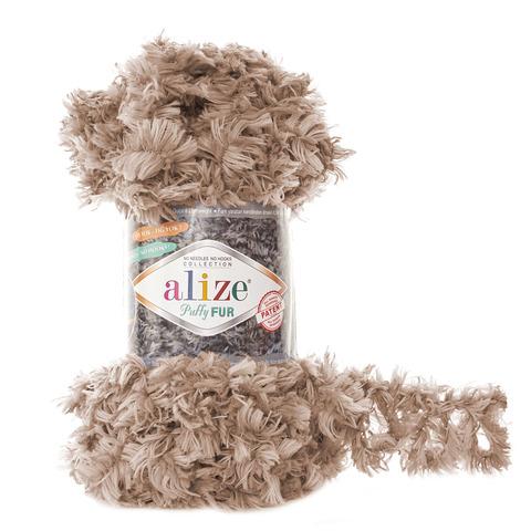 Купить Пряжа Alize Puffy Fur Цвет 6104 Коричнево-бежевый | Интернет-магазин пряжи «Пряха»