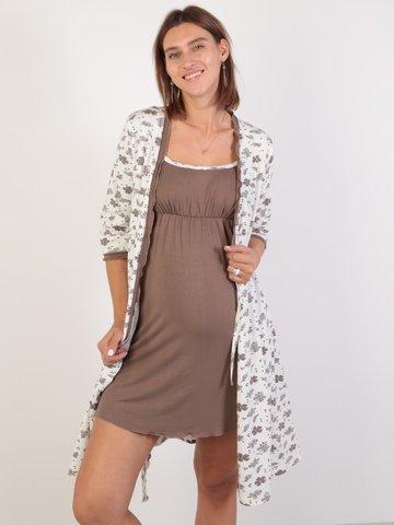 Евромама. Комплект халат и сорочка с лифом-корзинкой, молоко вид 1
