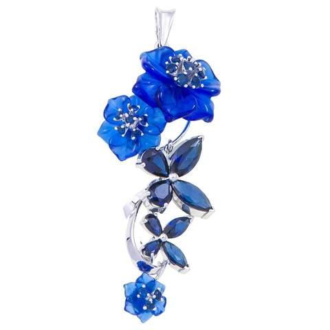 Подвеска с цветами из синего кварца и сапфиром Арт.3128сс