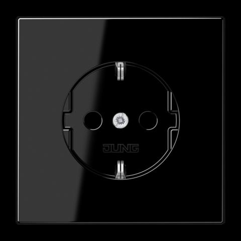 Розетка с заземлением, безвинтовой зажим. 16 A / 250 B ~. Цвет Чёрный. JUNG LS. LS1520SW