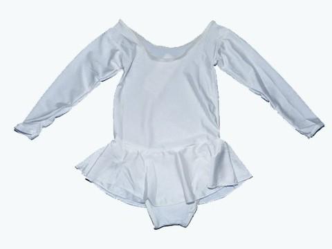 Купальник гимнастический с юбкой. Состав: полиэстер. Размер М. Цвет белый. :(2012):