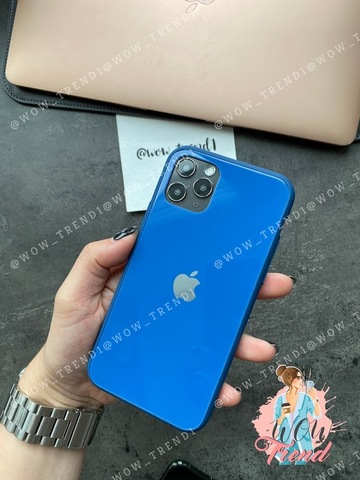 Чехол iPhone 11 Pro Glass Pastel color Logo /blue/