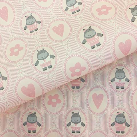 Бумага подарочная декоративная Бегемотики на розовом