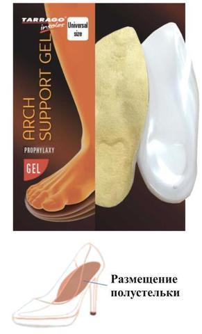 Анатомический клин-супинатор для обуви на высоких каблуках, ГЕЛЕВЫЙ Tarrago  ARCH SUPPORT GEL