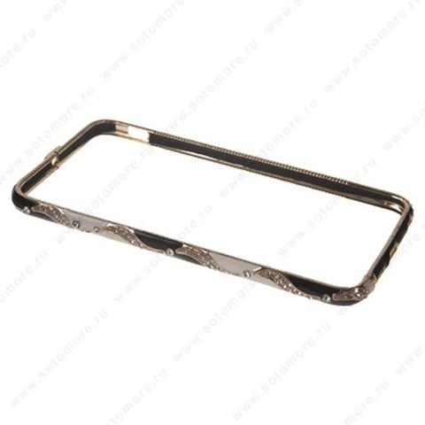 Бампер Heimeiren металический для iPhone 6s Plus/ 6 Plus стразы золото с черным, белым