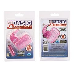 Розовое эрекционное кольцо с вибростимулятором клитора BASIC ESSENTIAL