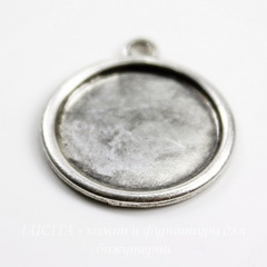 Сеттинг - основа - подвеска для камеи или кабошона 13 мм (оксид серебра)
