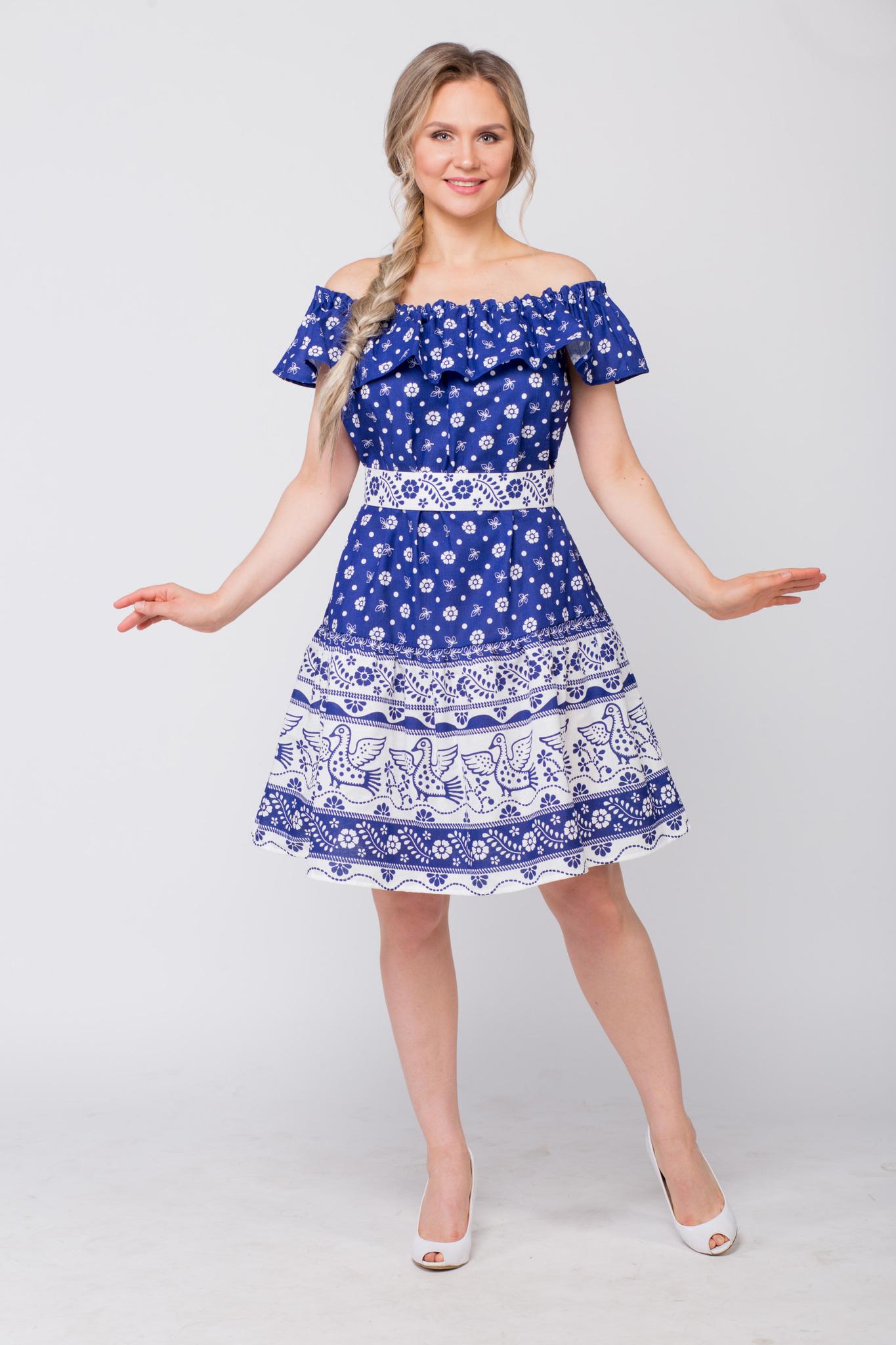 Платье льняное Жар-птица с поясом вид спереди