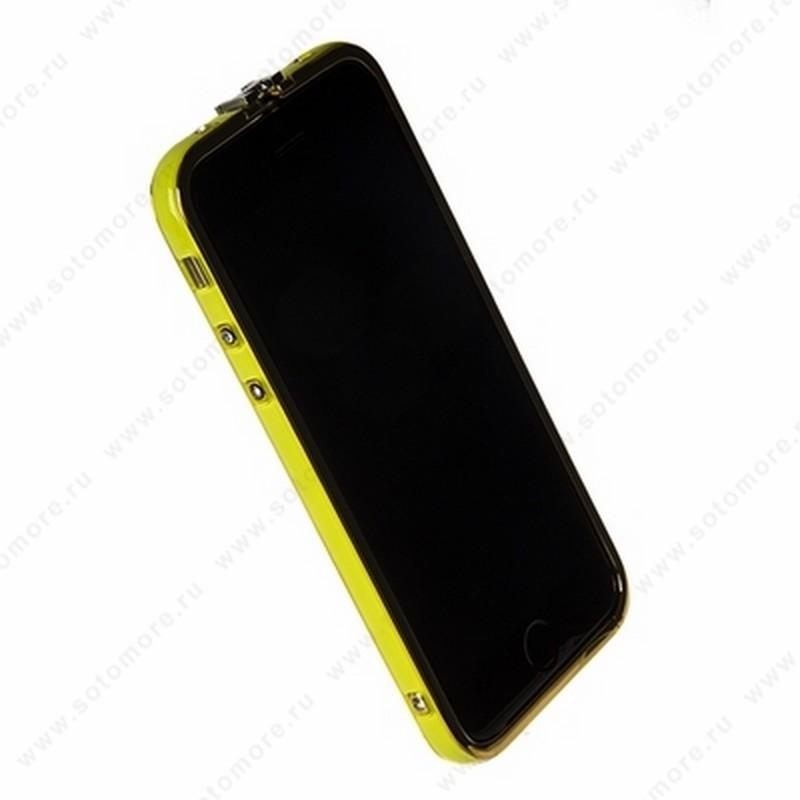 Бампер Heimeiren металический для iPhone 6s/ 6 желтый каемка золото