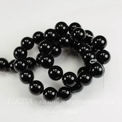 Бусина Агат (Категория А) , (тониров.), шарик, цвет - черный, 10 мм, нить