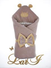 Демисезонный набор на выписку из роддома Панда/лапки (молочный шоколад)