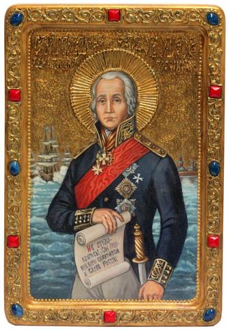Живописная инкрустированная икона Святой праведный воин Феодор (Адмирал Ушаков) 29х21см на кипарисе в подарочной коробке