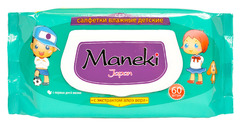 """Салфетки влажные """"Maneki"""" детские с экстрактом Алоэ Вера 60шт"""