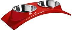 Миска двойная на меламиновой подставке «Элеганс» 2х160 мл красная, SuperDesign