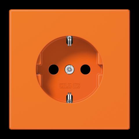 Розетка с заземлением, безвинтовой зажим. 16 A / 250 B ~. Цвет Блестящий оранжевый. JUNG LS. LS1520BFO