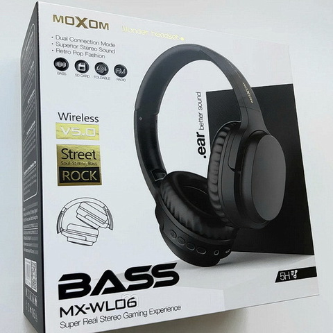 Наушники Bluetooth Moxom MX-WL06, BT 5.0, microSD, 5H, black