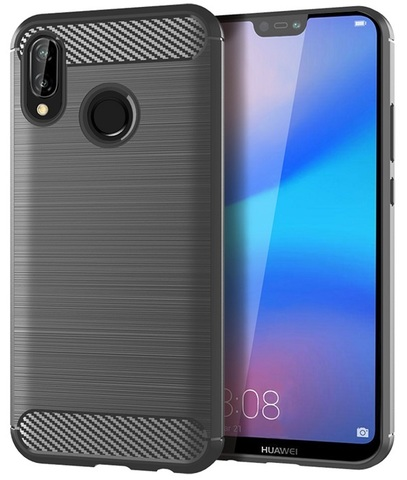Серый чехол для Huawei P20 Lite, серии Carbon от Caseport