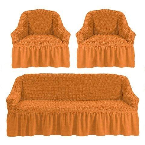 Комплект чехлов для дивана и двух кресел рыжий.