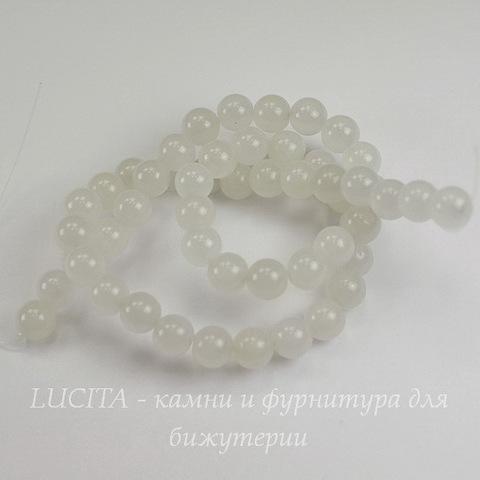 "Бусина Жадеит, шарик, ""Белый туман"", 8 мм, нить"