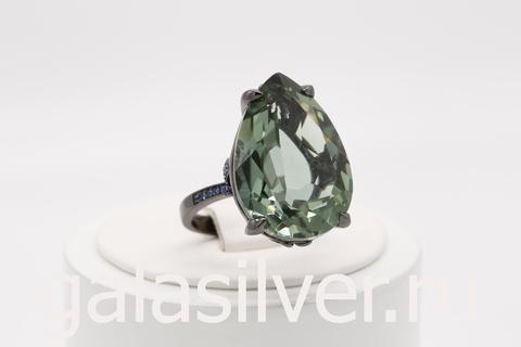 Кольцо с зеленым кварцем и нано кристаллами из серебра 925